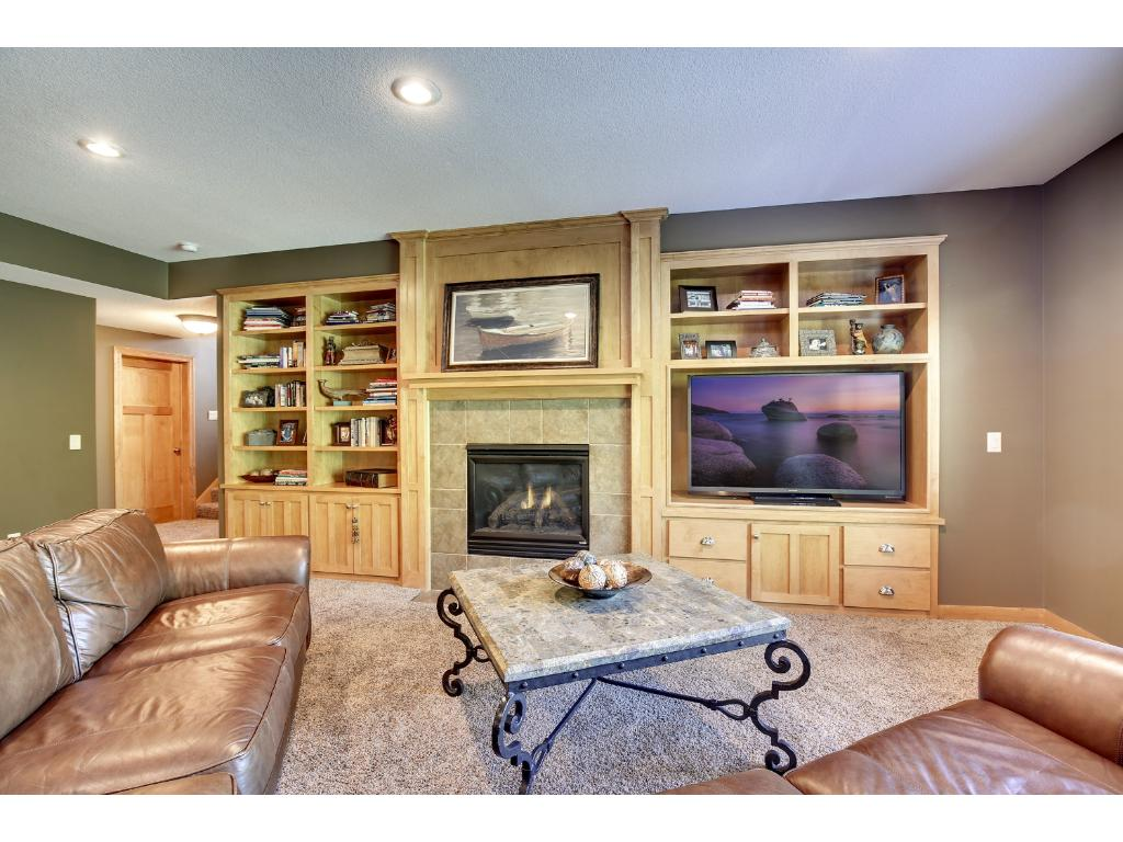 Gorgeous walkout lower level with Family room, fireplace, built-in cabinets, room for a pool table, Wet Bar, Bedroom / Exercise Room, Bath and more!