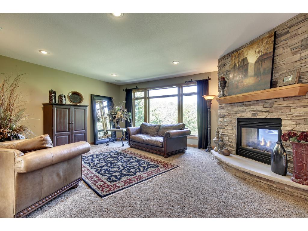 Formal living room features recessed lighting, large windows with wooded, wetland views, built-ins, & cozy fireplace.