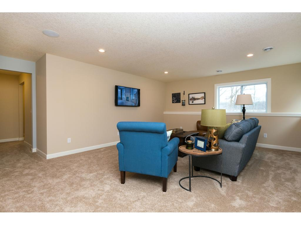Lower Level Family space for large TV