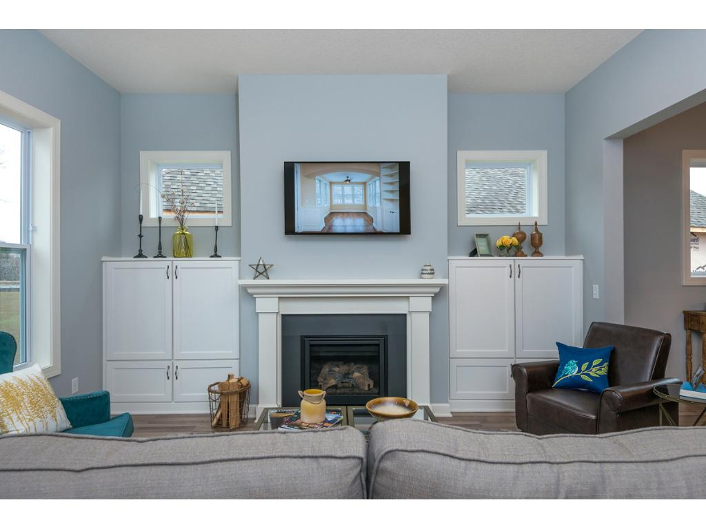 Great Room Fireplace with built-in Entertainment Center cabinets