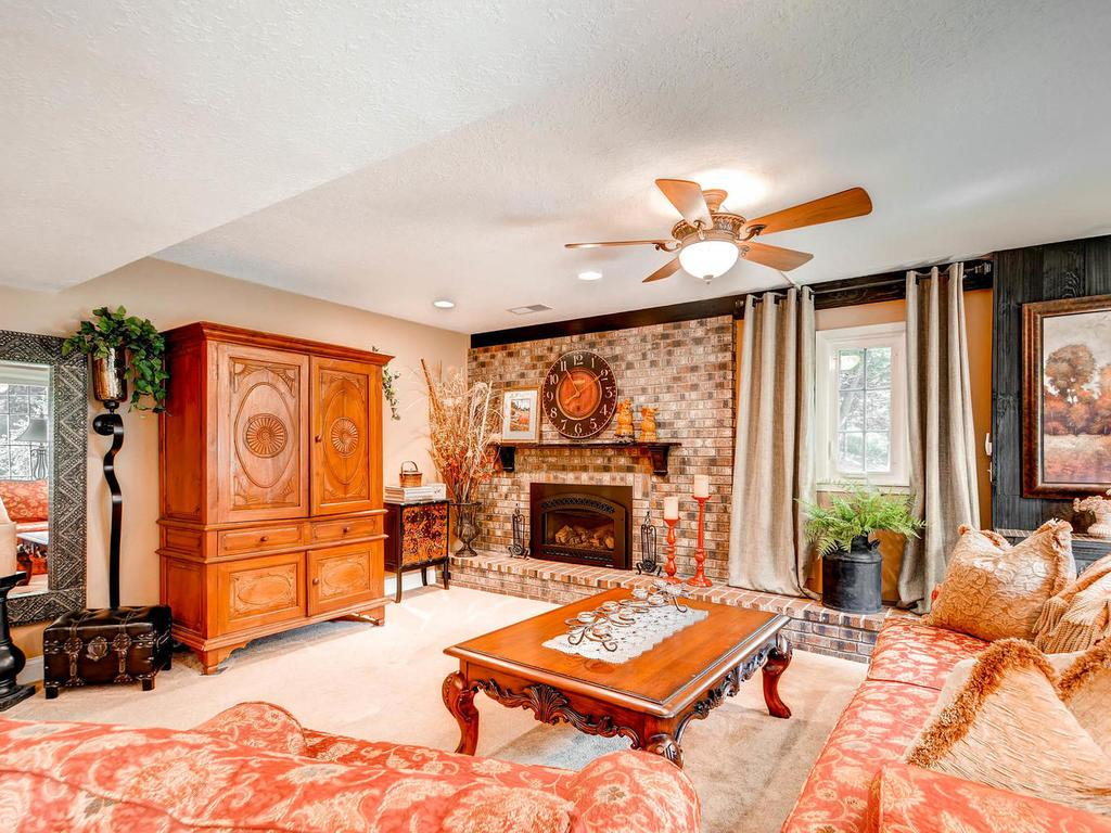 The family room on the walkout level is another place for family and friends to gather.  Enjoy a crackling fire in the wood burning fireplace.  Feel the serenity of the views overlooking the park like yard.  Step out to the patio for some outdoor fun