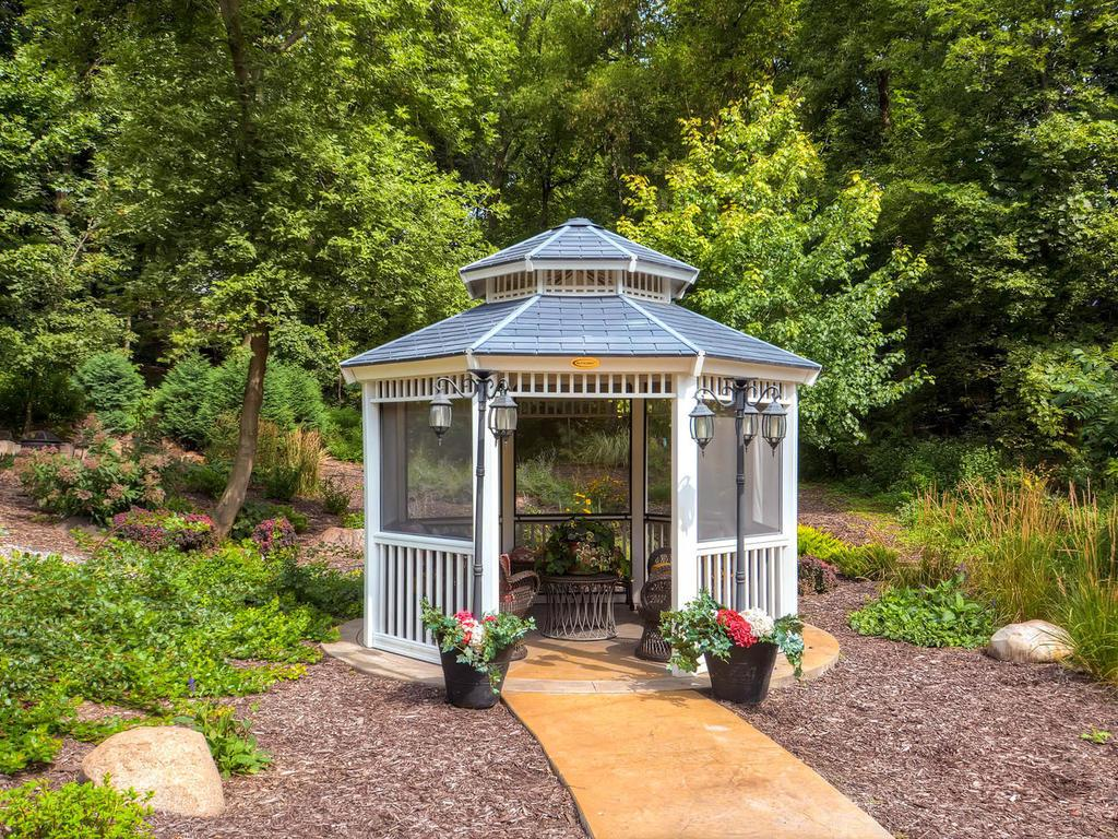 How fun to read and have a glass of wine in the outdoor gazebo.