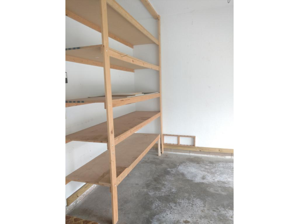 Extra shelving added in the garage for your storage needs.