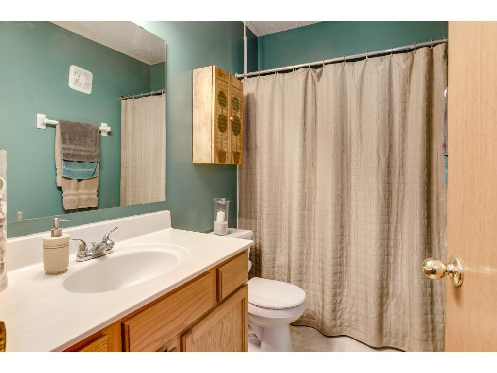 This full bathroom off the main/upper level hall has updated flooring and fun, modern decor.