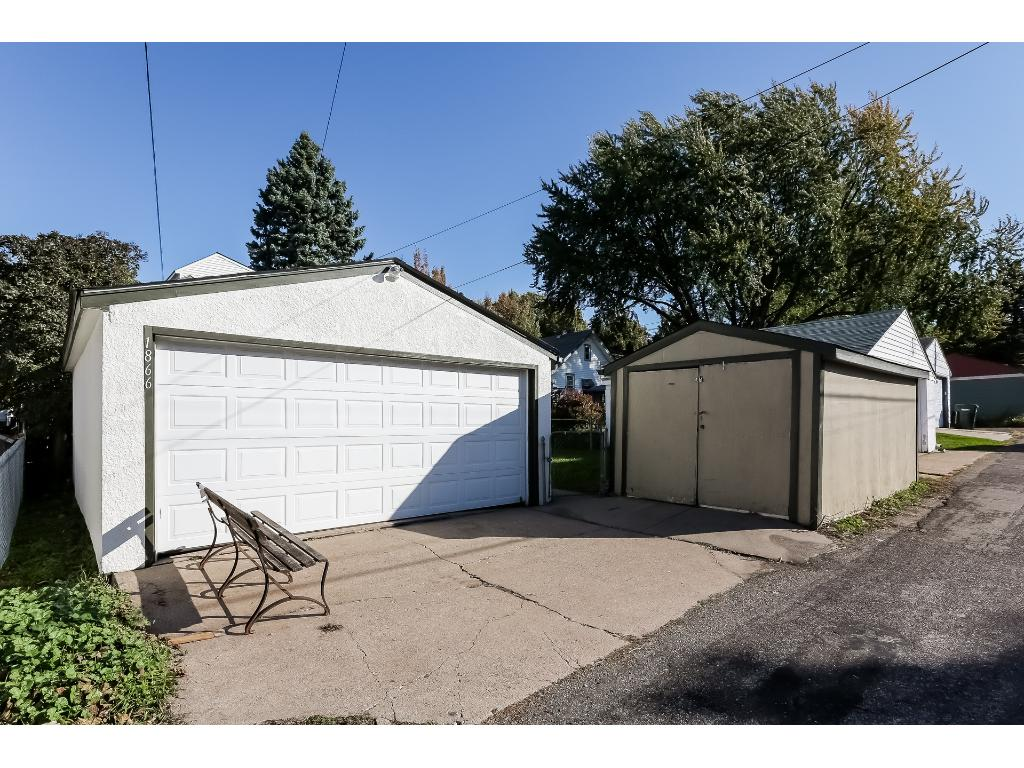Spacious two car garage and 10X16 shed