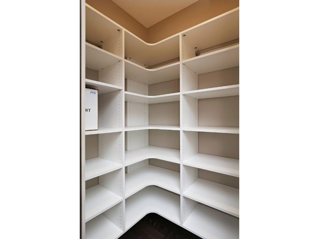 Walk-in Pantry in kitchen features built-in storage shelves