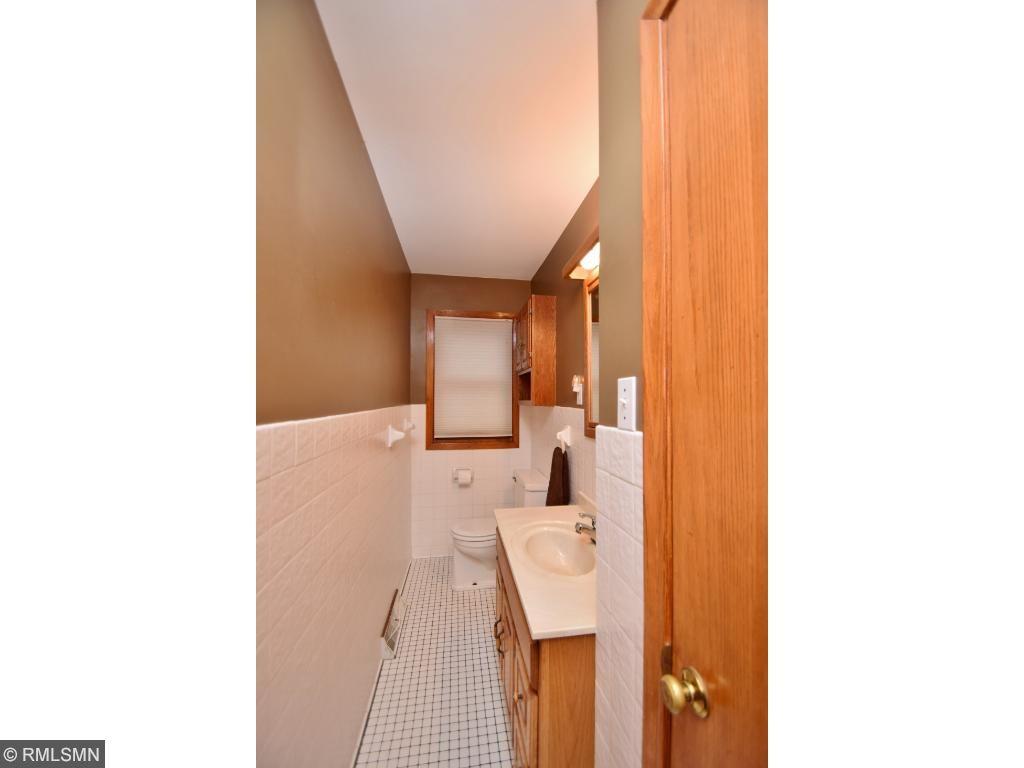 1/2 bath on main level, ceramic flooring