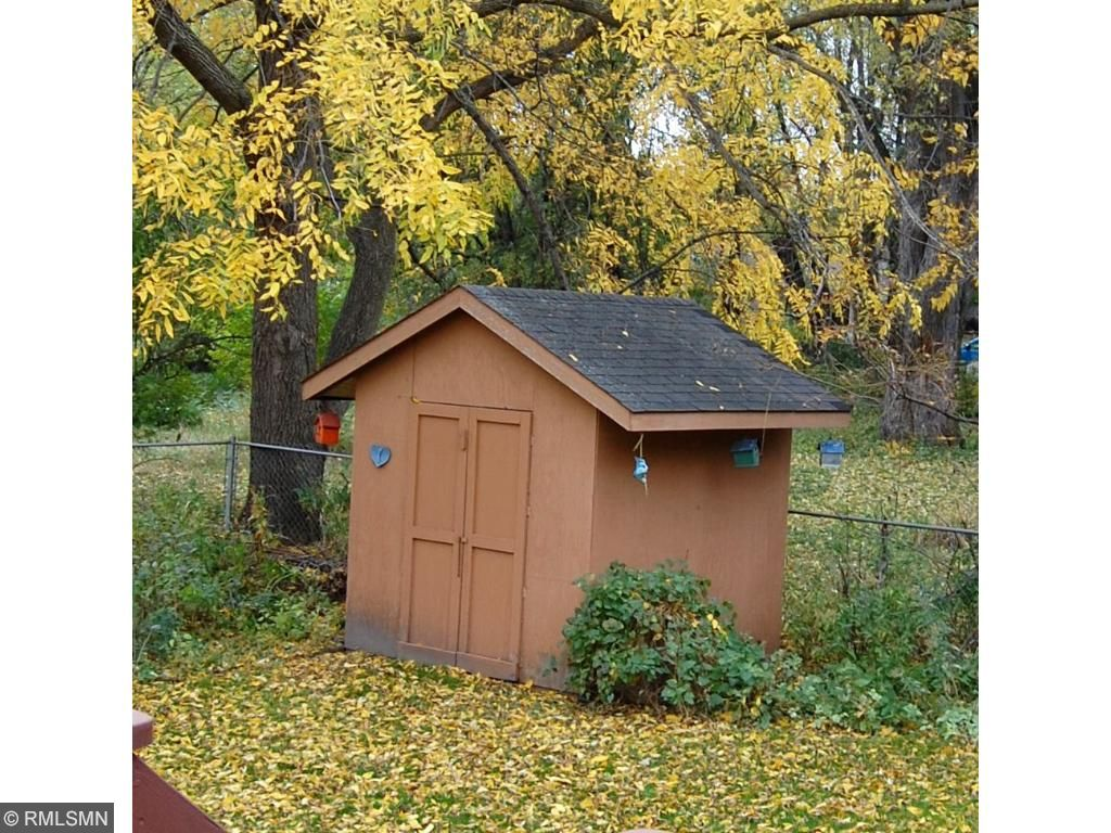 The shed offers additional storage