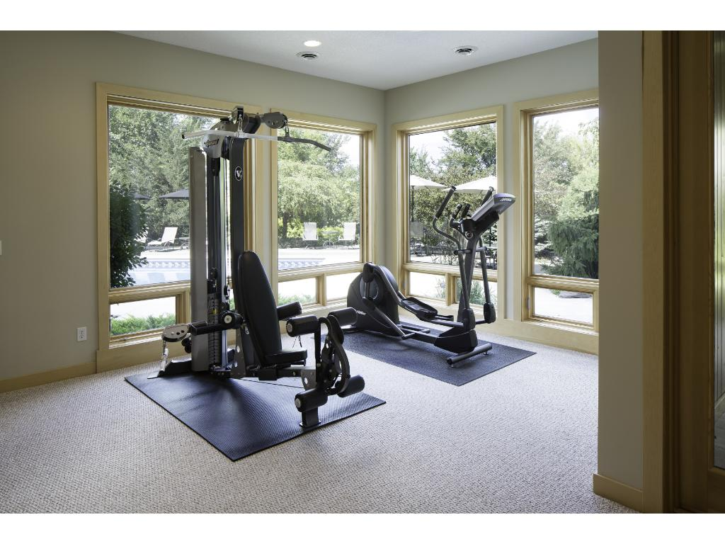 Gym membership no longer required! Exercise rm boasts large windows & provides access to the indoor spa rm w/cedar lined walls & ceiling. Also on the LL is an additional bedrm, 2-3/4 baths, 2nd laundry rm plus storage space tucked behind a bookcase.