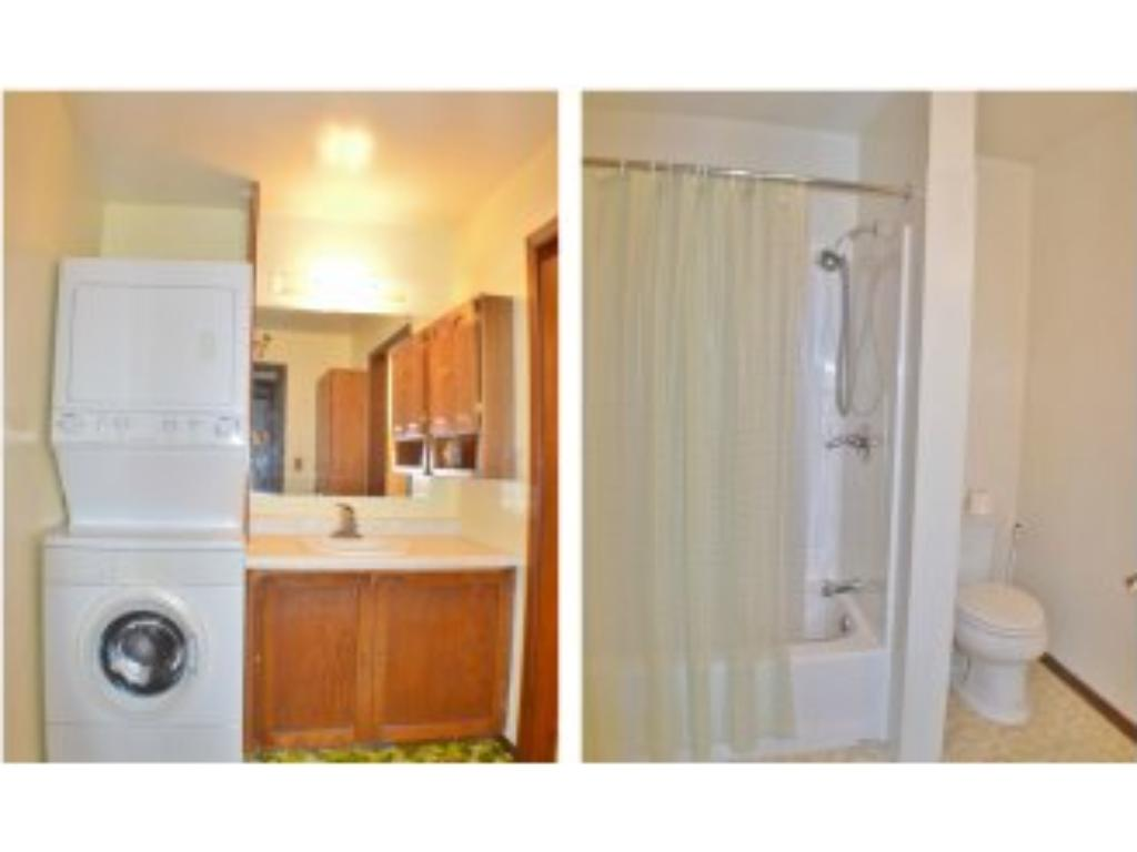 The main floor bathroom has a stackable washer & dryer with a vanity.  Then it leads in to a separate room with a tub & shower and toilet.  Great for a little more privacy!