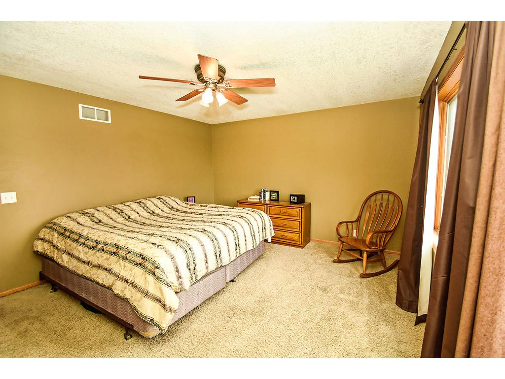 Master bedroom has a walk in closet and deluxe bath with two sink vanity.