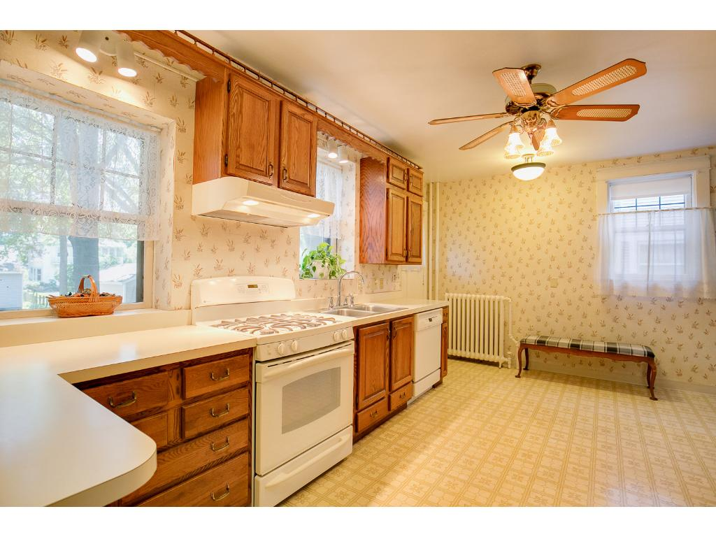 Huge main floor kitchen features ample cabinet space!
