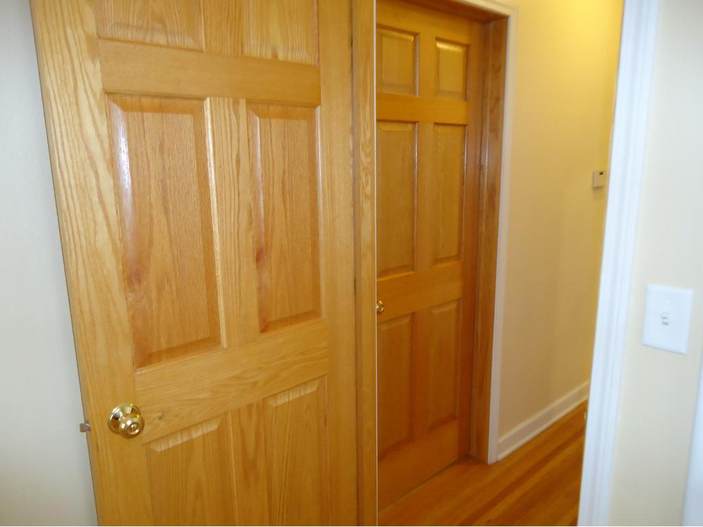 A VIEW OF THE SOLID OAK SIX-PANEL DOORS.