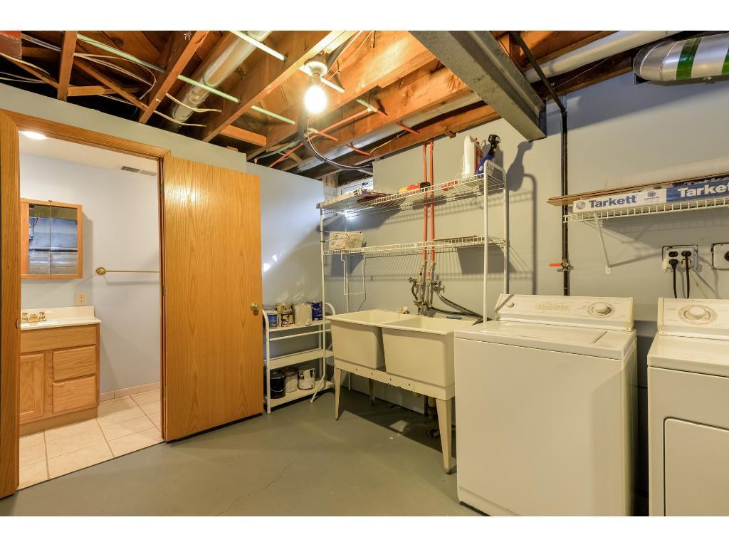 Basement laundry and bathroom