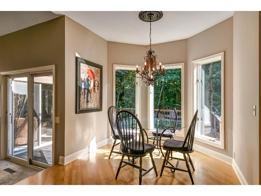 A view of the informal dining space that lies between the kitchen and great room.