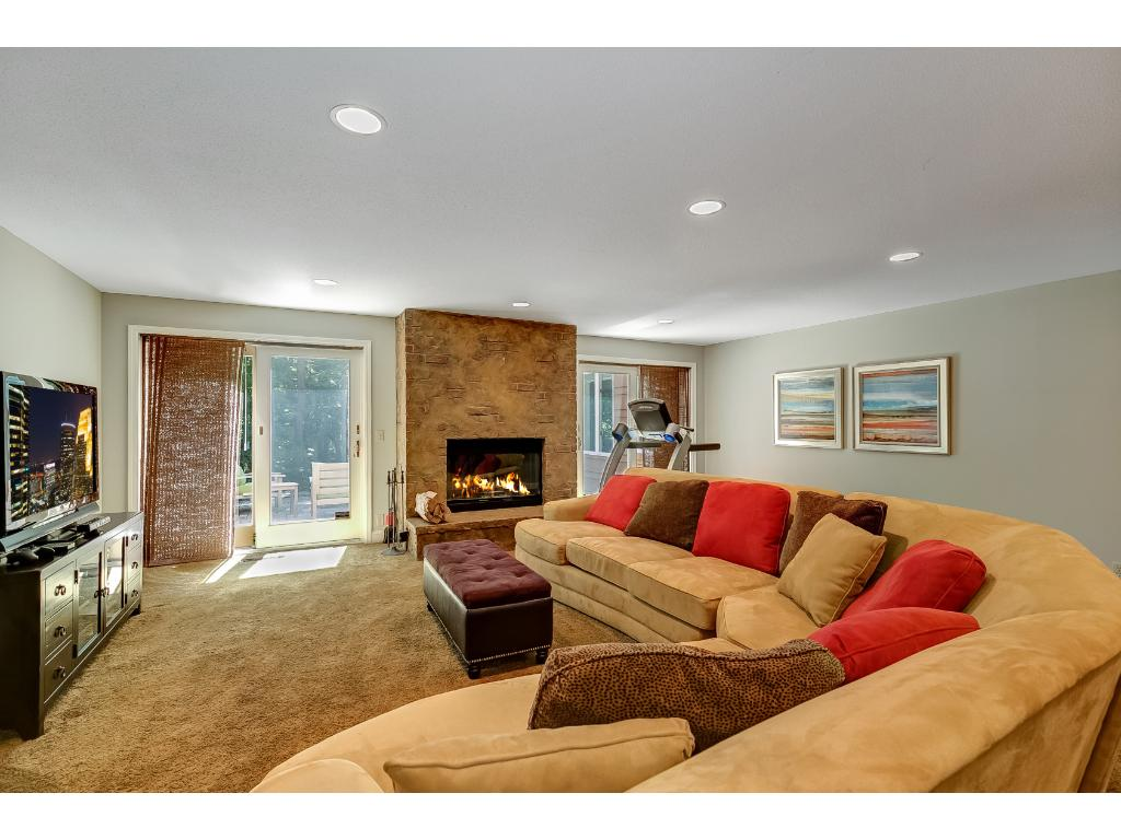 Spacious lower level family room adjacent to wet bar and walks out to paver patio.