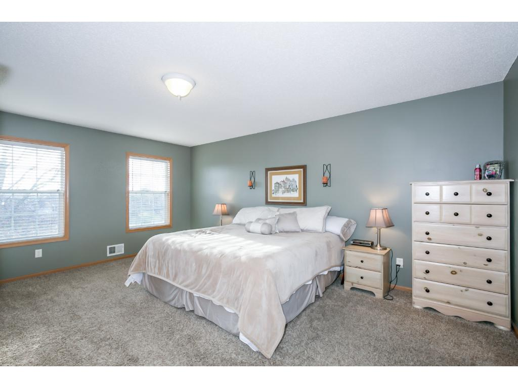 The master bedroom has ample space for large furniture.