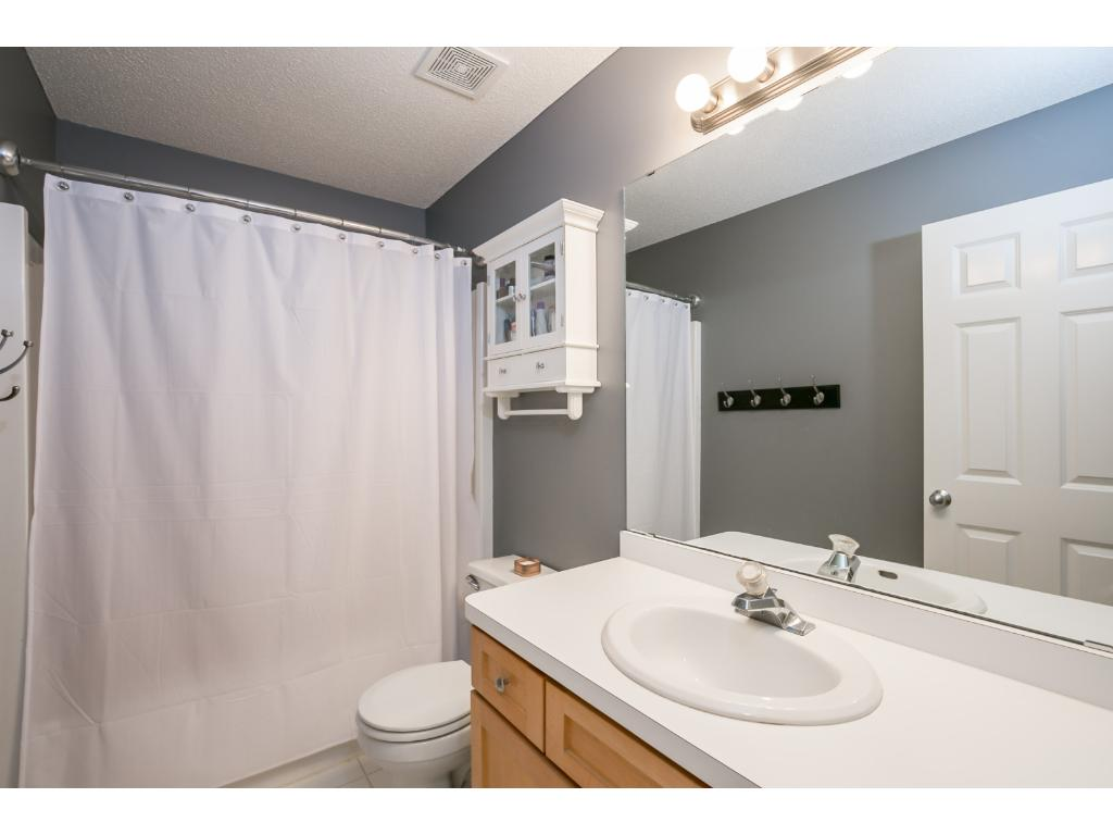 The shared bathroom upstairs has a heated floor.