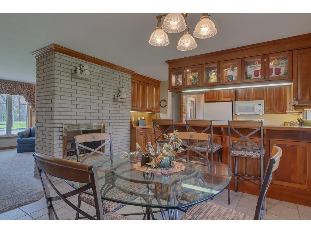 The dining area is open to the kitchen and living room.