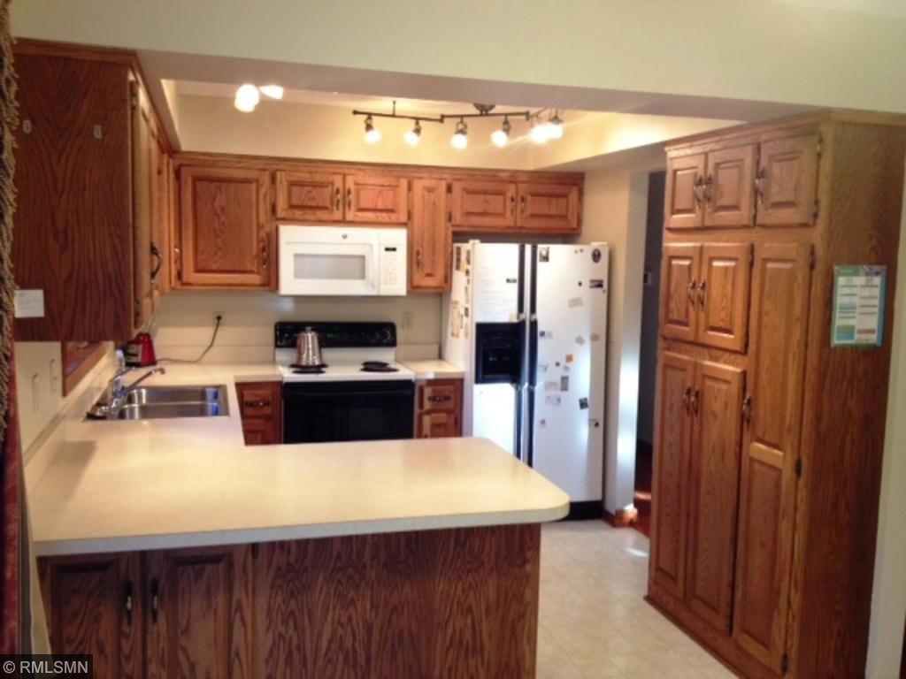 Nice bright kitchen with new lighting.