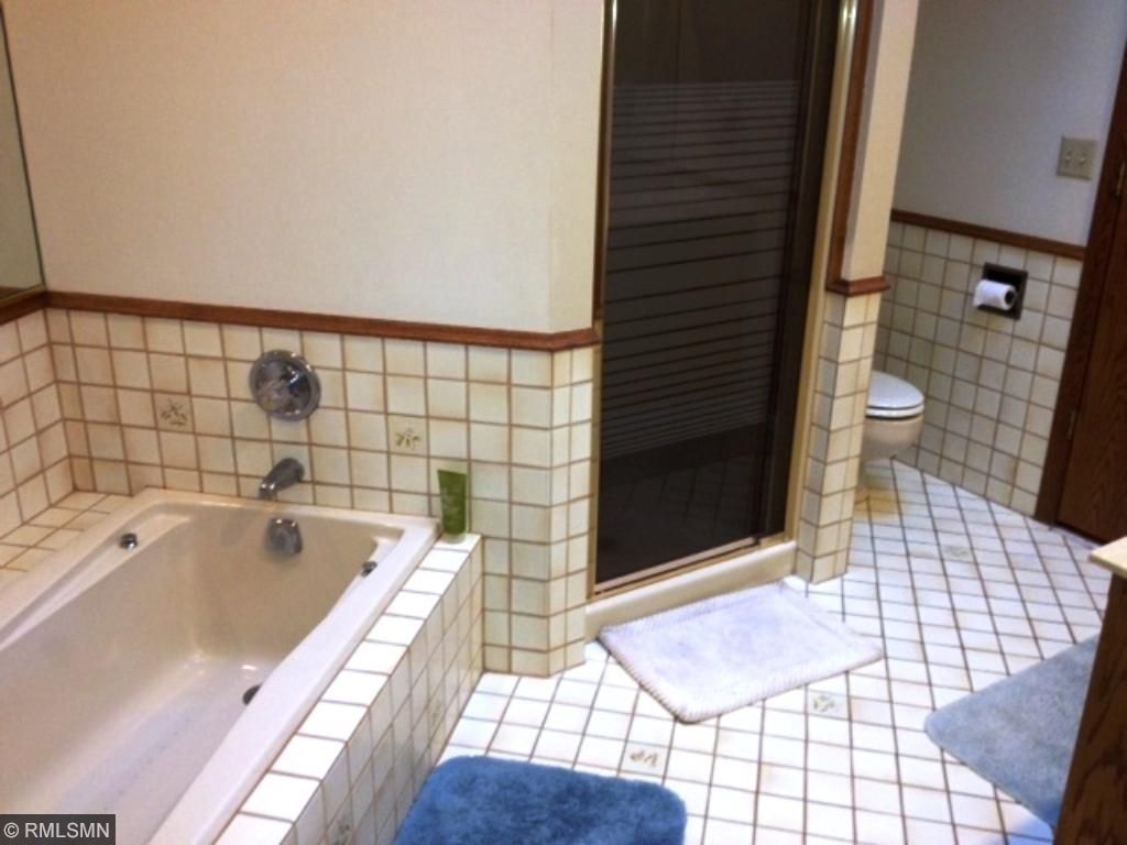 Spacious main bath with separate tub and shower. Very bright with skylight.