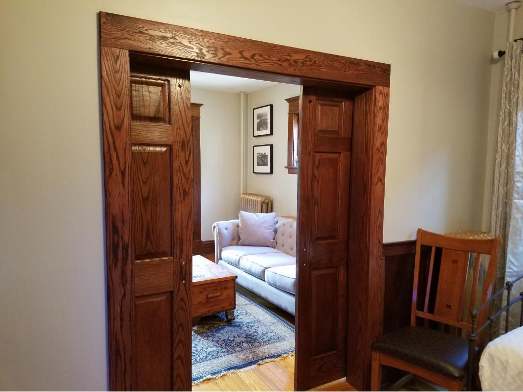 Bedroom with slider doors to give open feel option.