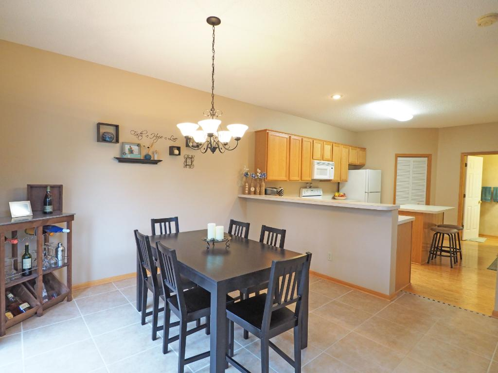 The dining room is conveniently right off the kitchen.