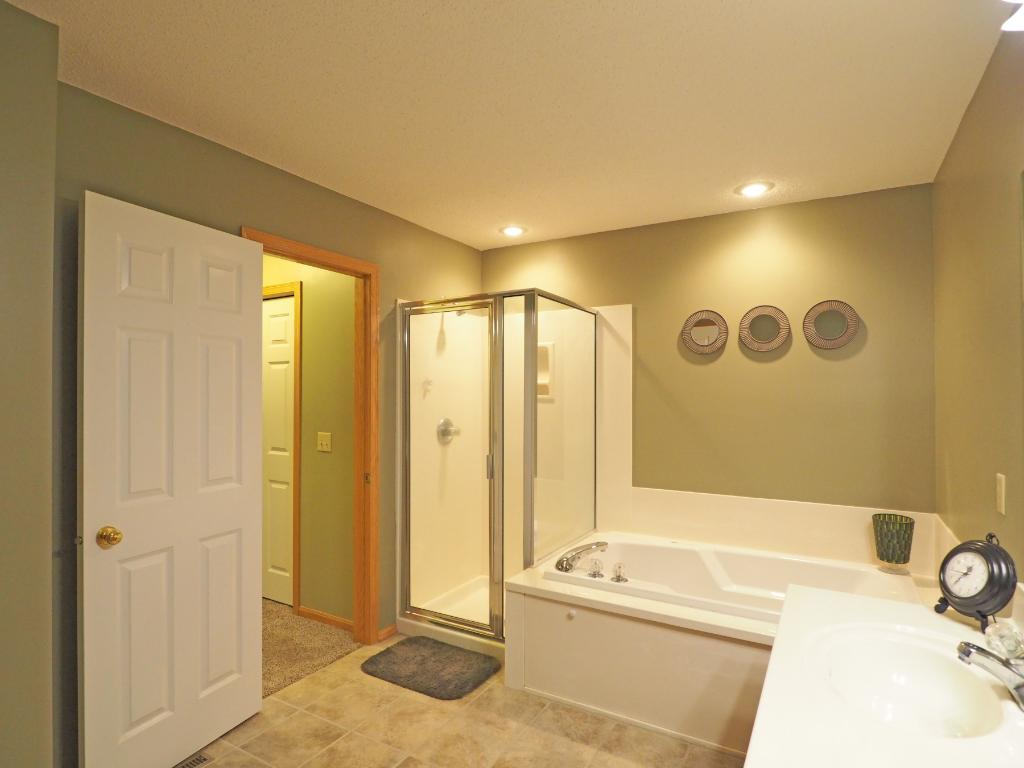 With a separate shower and tub, this bathroom has it all.