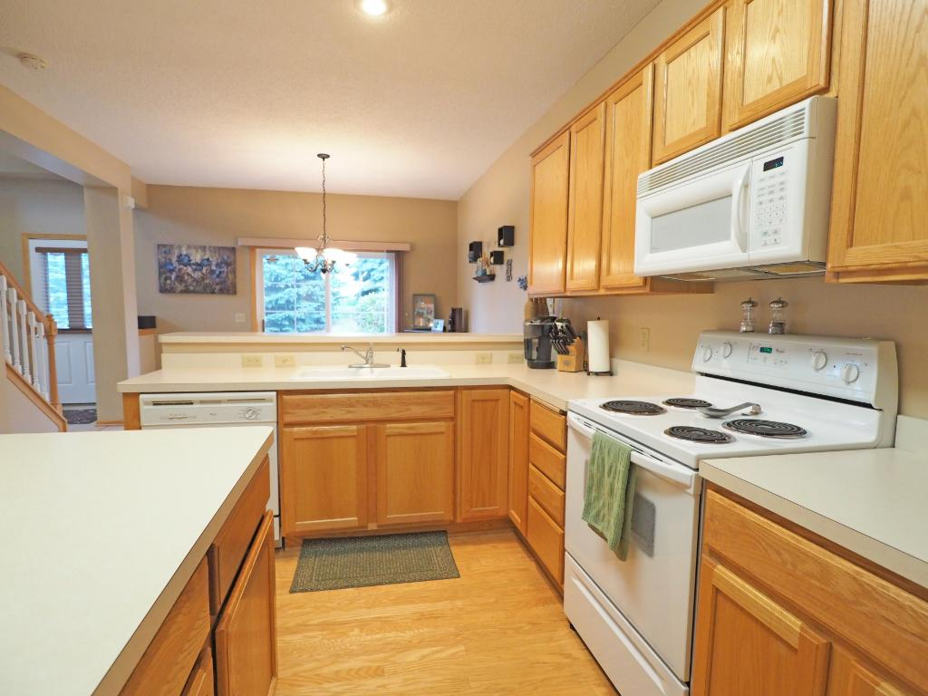 With the open layout, the kitchen flows into the dining room.