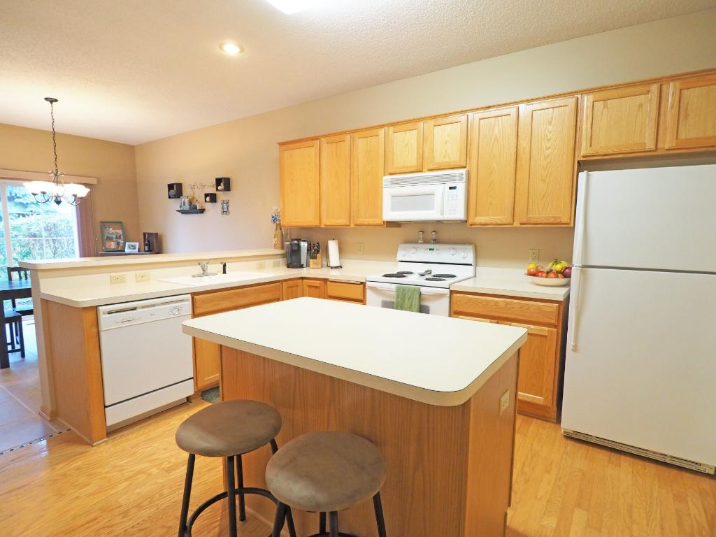 This kitchen features a convenient island.
