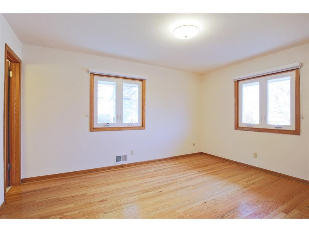 Master bedroom has private bath and wonderful newly refinished wood floors