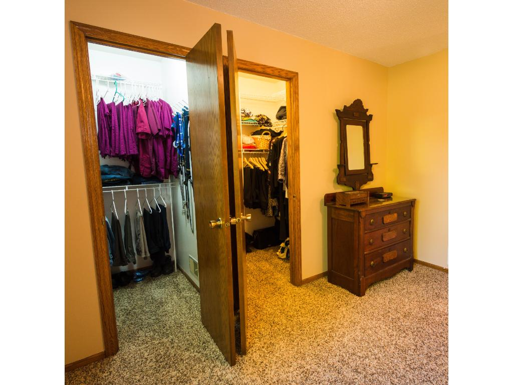 Two walk-in closets means no squabbling over storage space!
