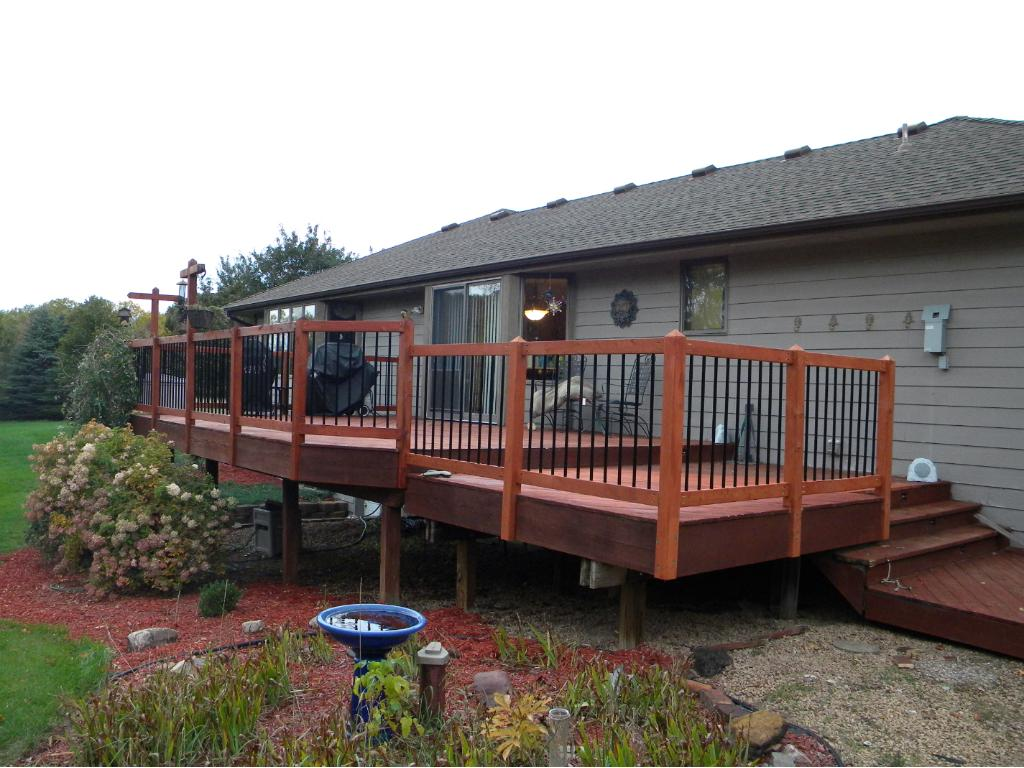 quiet and privacy on your back deck with new railing and fresh paint