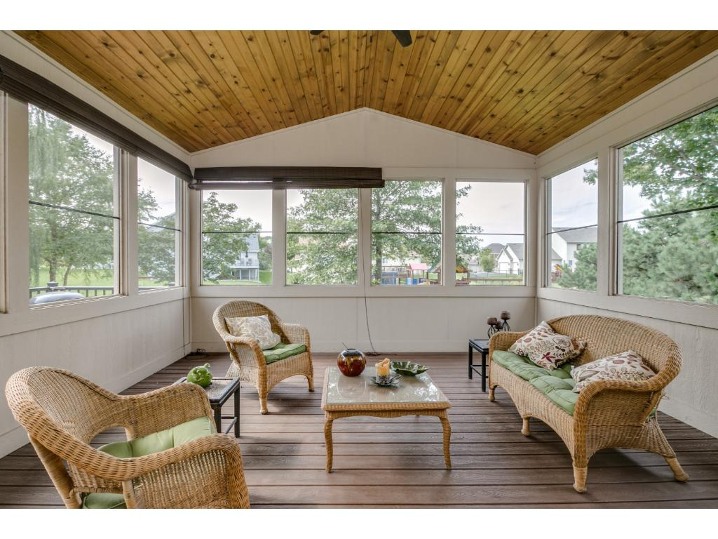 What a fantastic addition to this home.  A 3 season screened in porch.  Open the patio doors and enjoy this outside entertaining area.  Bug free!!  There is an access door to your maintenance free deck for easy BBQing!