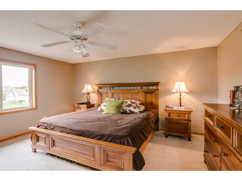 Large master suite with walk in closet, private full bath, beautiful views and neutral decor.