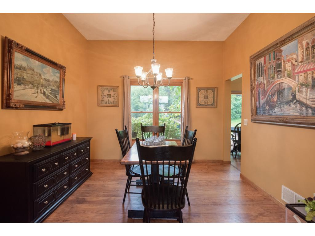 A large window accents the dining room.