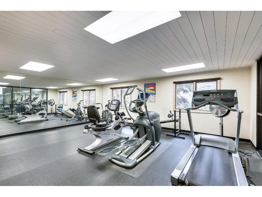 The shared fitness center.