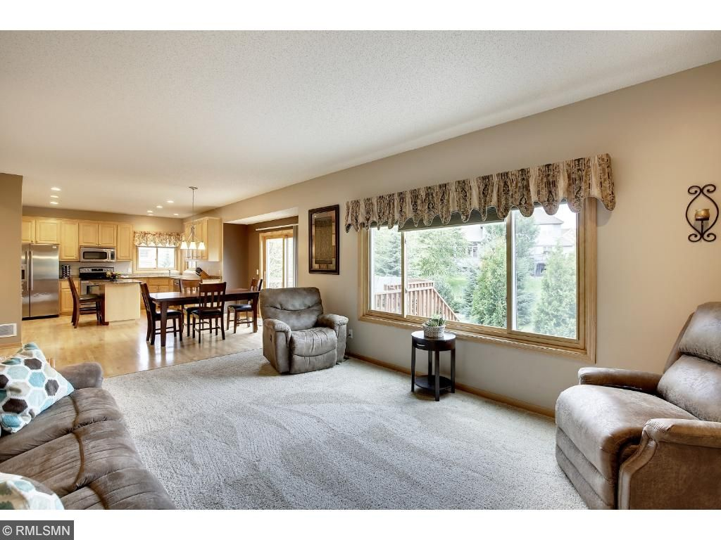 Open concept floor plan, fenced backyard, NEW ROOF in 2015 and walking distance to Lakeville South.