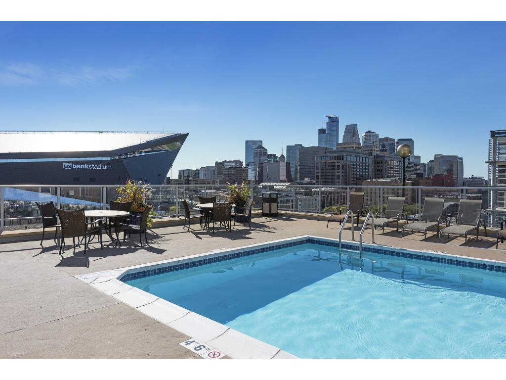 The building offers some of the best amenities in town including a rooftop pool!