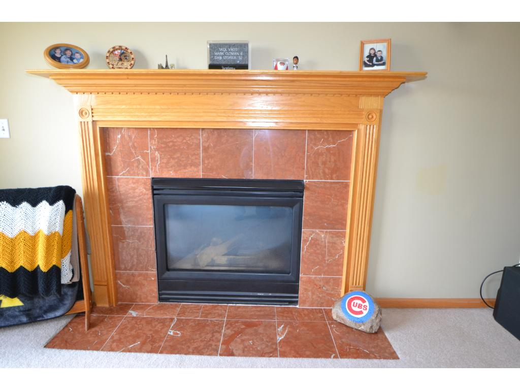 Gas fireplace with marble surround!