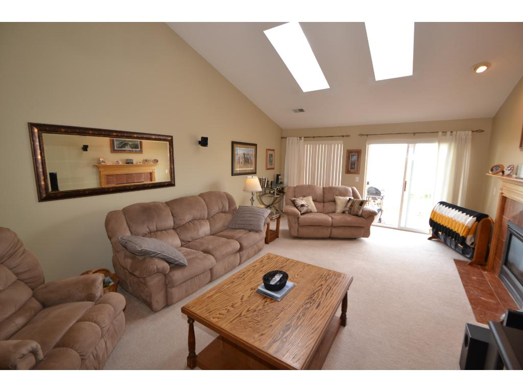 Large living room with gas fireplace!