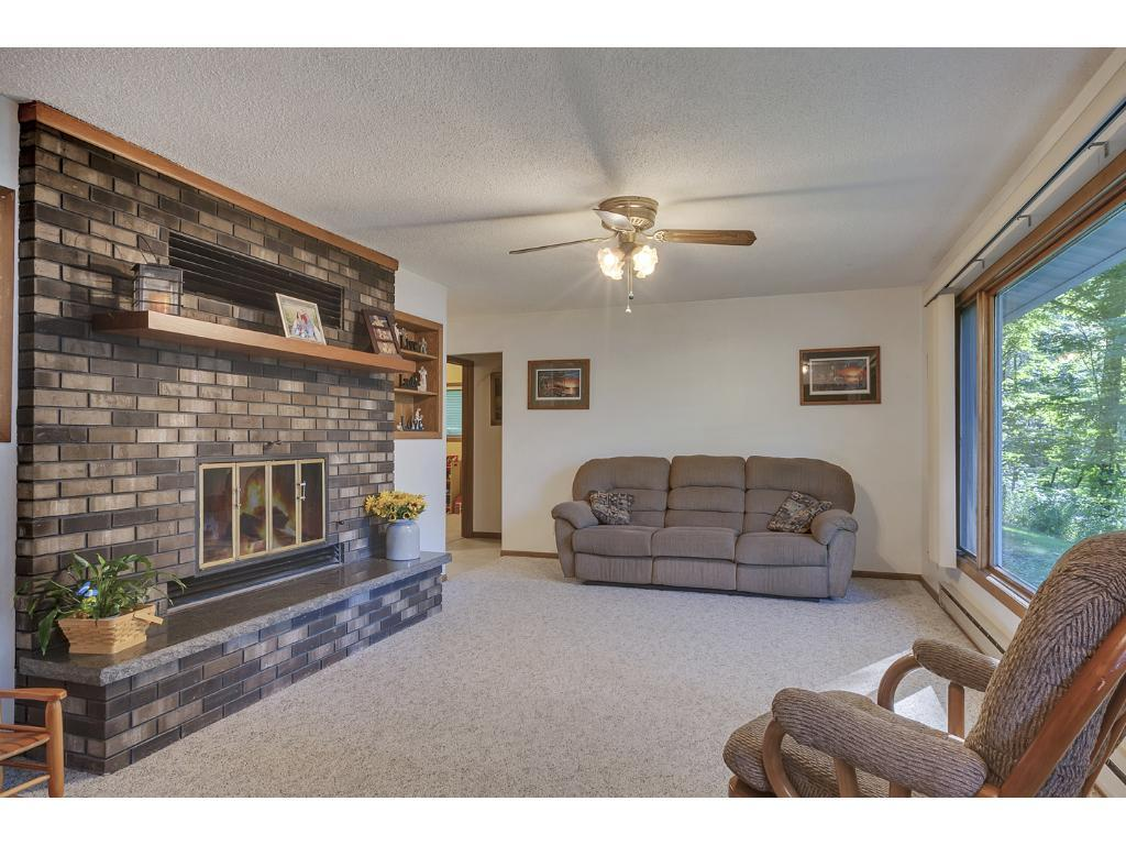 Cozy up by the brick fireplace!