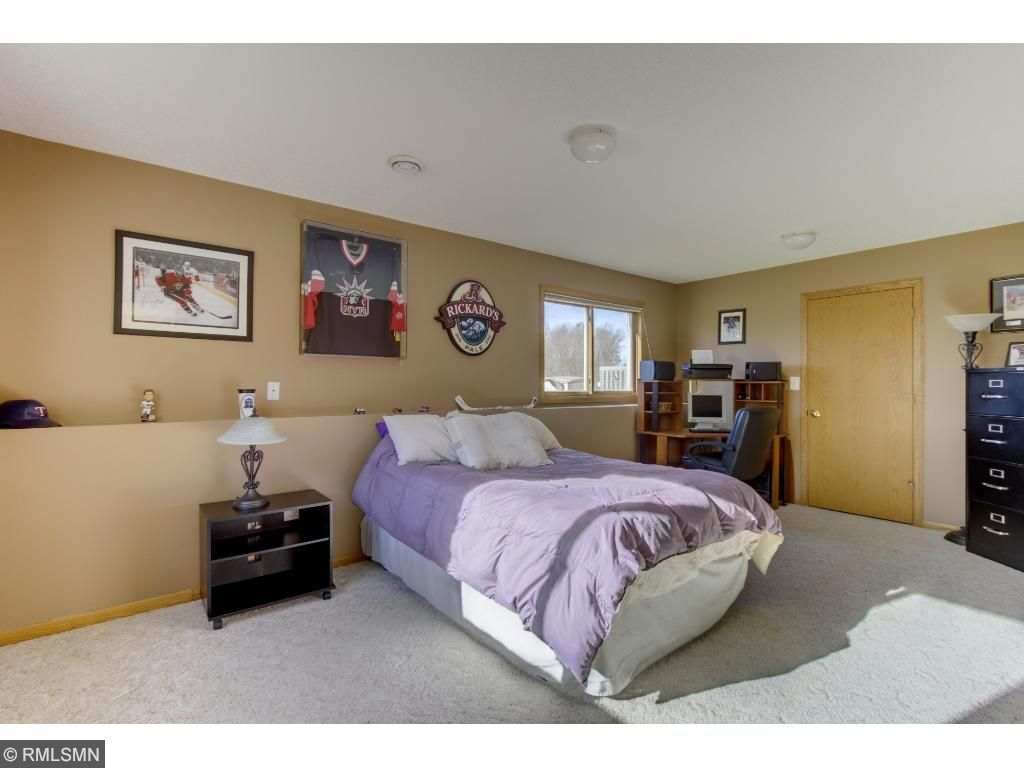 Lower level bedroom with walk in closet.