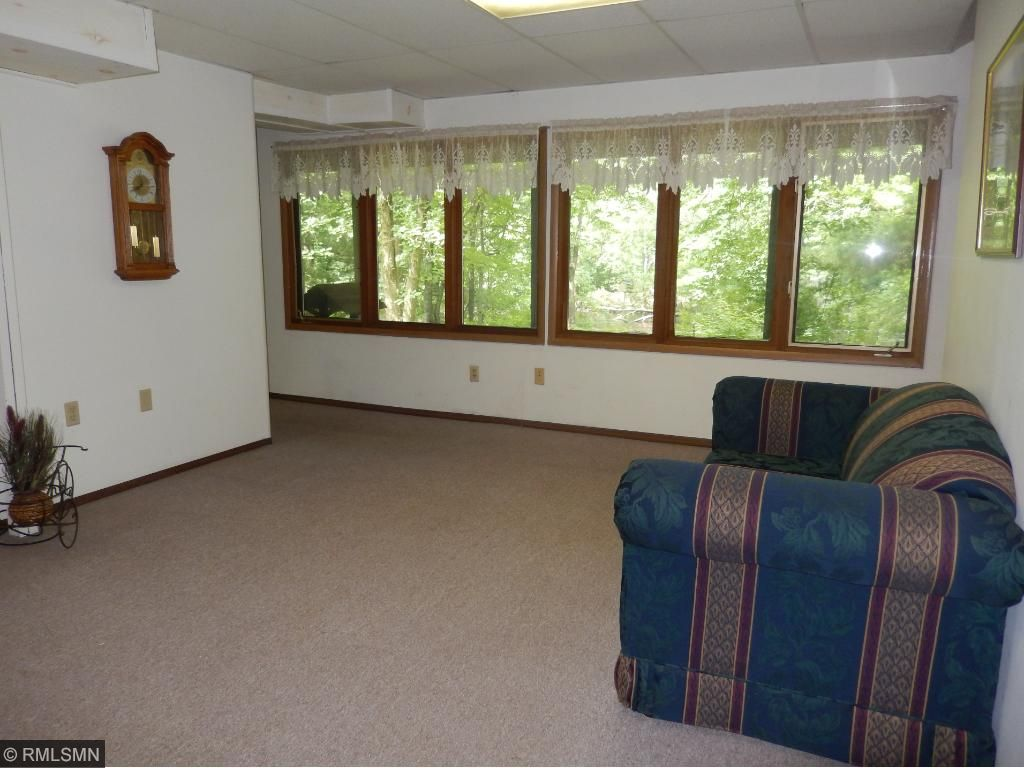 Lower level family room with a wood burning fireplace.  It is also a walkout to your patio.