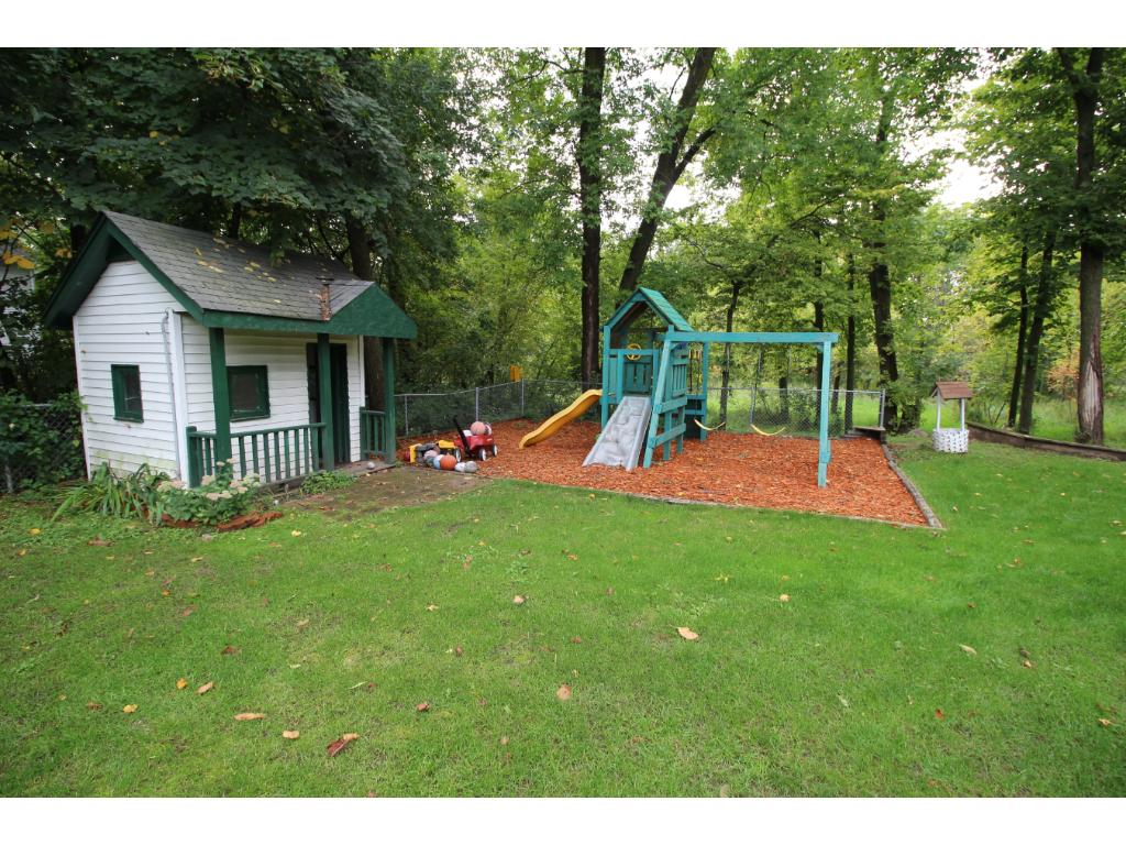 The play house and swing set will stay with the house.
