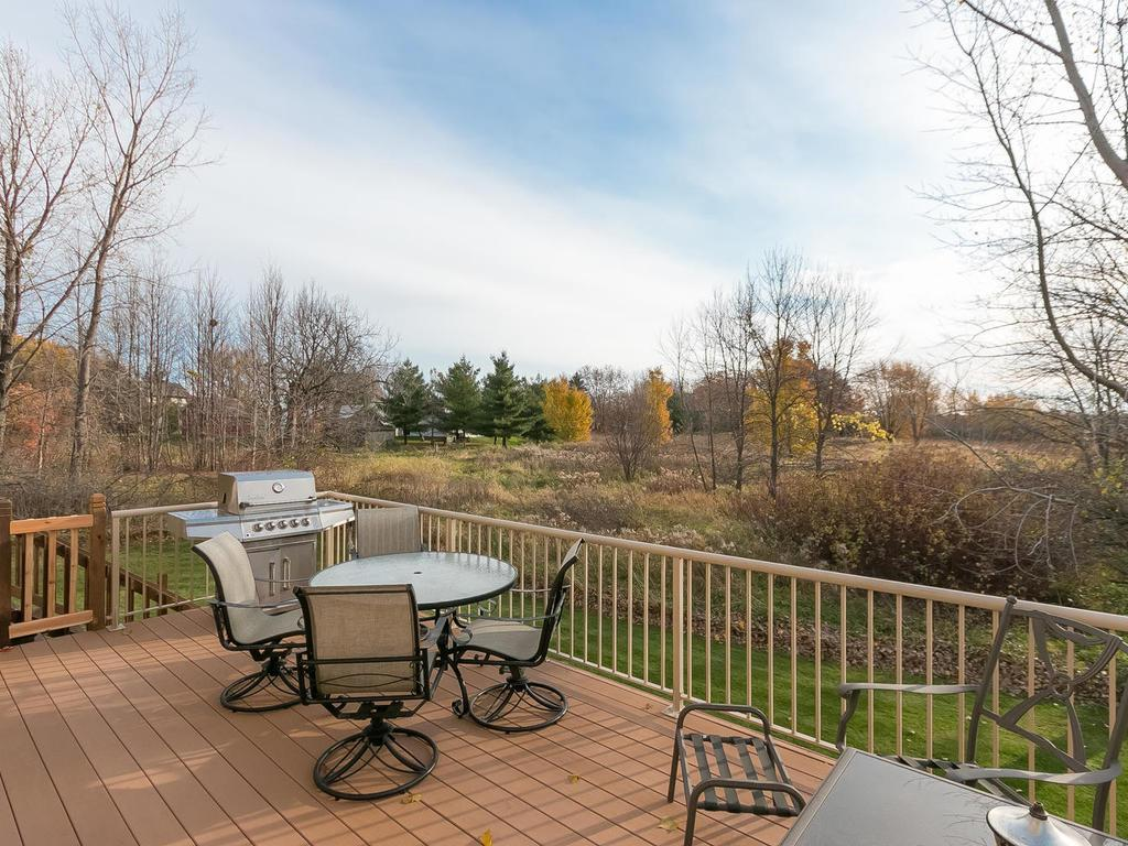 Just a portion of this huge deck with maintenance free flooring and natural gas line run for you grill. It is so peaceful looking out at that wetlands and watching nature