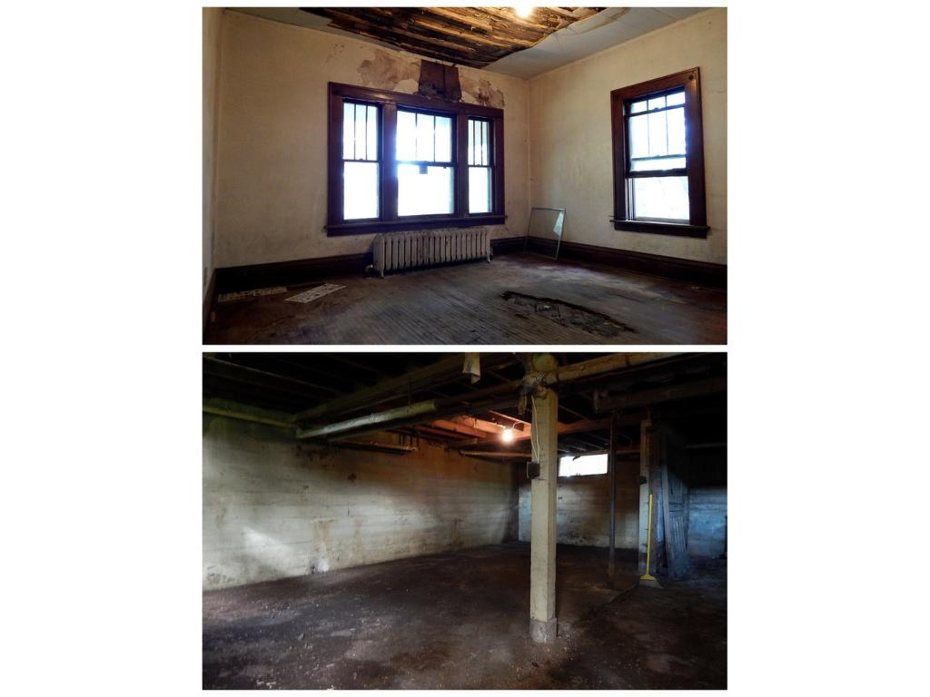 Due to an interruption in maintenance this home has suffered some damage.  A leaky roof weakened the integrity of the plaster and hardwood floor.  This is a main level bedroom and has suffered the most interior damage.  Standard basement for 1922.