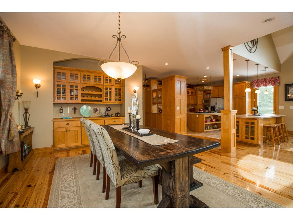 Built in buffet and open concept dining/living/kitchen.