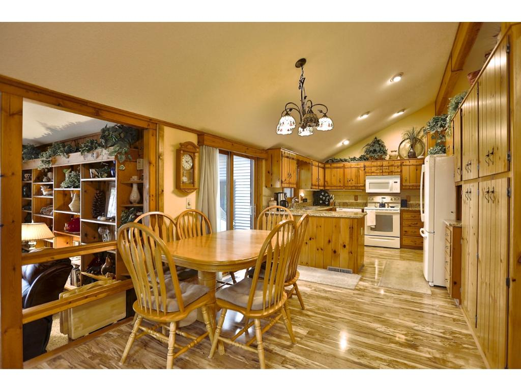 Kitchen/dining room space with excellent lake views.