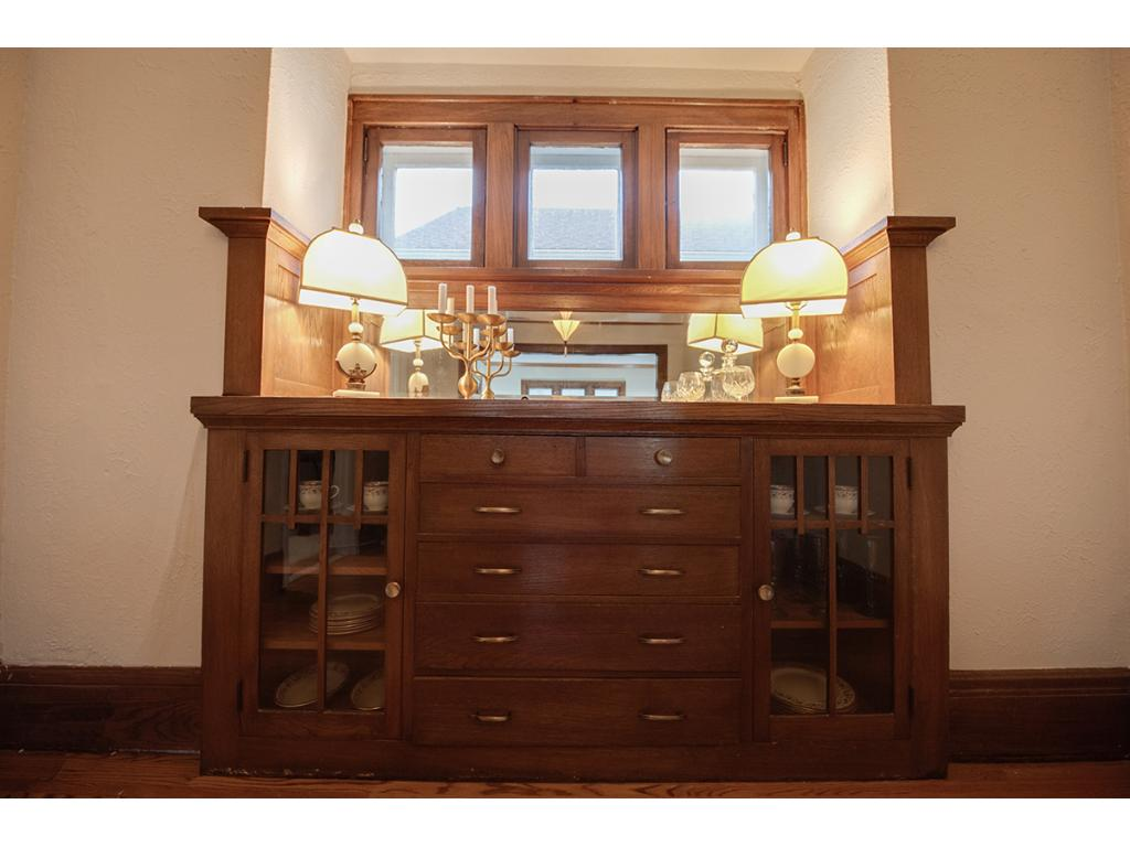 Close-up of the gorgeous built-in buffet! Excellent for additional storage.